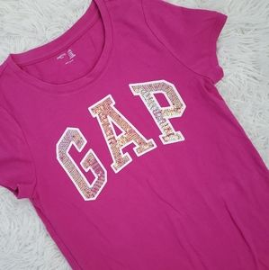 Girl's Gap Logo Top Magenta/Pink Sequined sz XXL